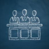 Jurors icon on chalkboard — Stock Vector