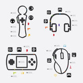 Game infographic with icons — Vetor de Stock