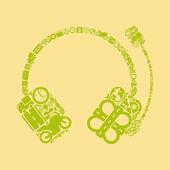 Headphones shaped icon — Stock Vector