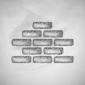 Brickwork icon on chalkboard — Stock Vector