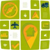 Navigation flat infographic — Cтоковый вектор