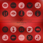 Set of Barcelona icons — Stock Vector