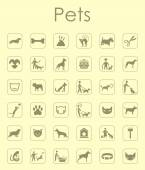 Set of pets simple icons — Stock Vector