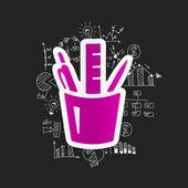 Formule di business con strumenti di elementi decorativi di disegno — Vettoriale Stock