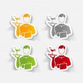Realistic design element, waiter — Stock Vector