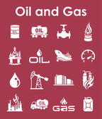 Set of oil and gas simple icons — Cтоковый вектор