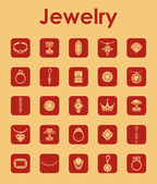 Set of jewelry simple icons — Stock Vector