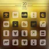 Set of milk icons — Stock Vector