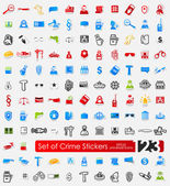 Set of crime stickers — Stock Vector