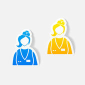 Realistic design element, saleswoman — Stock Vector