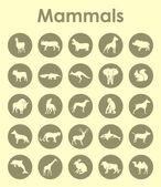 Set of mammals simple icons — Stock Vector