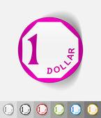 One singaporean dollar paper sticker — Stock Vector