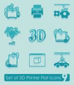 Set of three d printer icons — Stock Vector