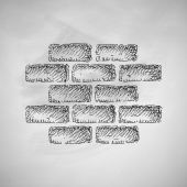 Brick icon sketch — Stock Vector