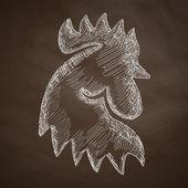 Cock icon sketch — Stock Vector
