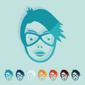 Flat design: face girl — Stock Vector