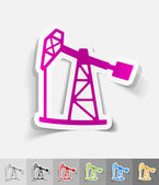 Oil pump paper sticker — Stock Vector
