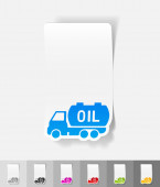 Transportation of oil paper sticker — Stock Vector