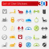 Set of diet stickers — Stock Vector