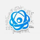 Drawing business formulas: atom — Stock Vector