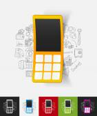 Mobile paper sticker — Stock Vector