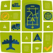 Navigation flat infographic illustration — Stock Vector