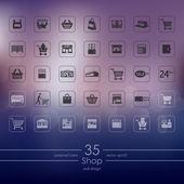ショップ アイコンのセット — ストックベクタ
