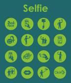 Insieme delle icone semplici selfie — Vettoriale Stock