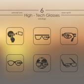 Set of high-tech glasses icons — Stock Vector