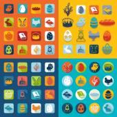 Ensemble d'icônes de Pâques — Vecteur