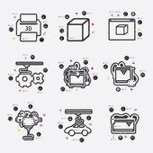 Three d printer infographic — Stock Vector