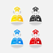 Realistic police officer icon — Stock Vector
