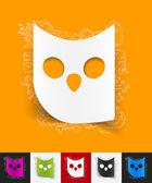 Owl paper sticker — Stock Vector