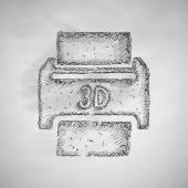 Three d printer icon — Stock Vector