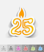 Candle twenty five paper sticker — Stock Vector