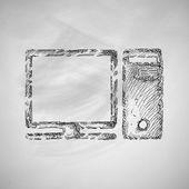 Pictogram van de computer op schoolbord — Stockvector