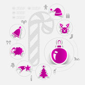 Christmas sticker infographic — Stock Vector