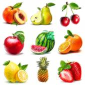 Set of fruits. Digital graphic like pastel freehand drawing. — Stock Photo