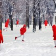 Winter landscape with duplicate person in red clothes. Concept. — Stock Photo #54568795