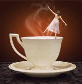 Cup of tea and dancing girl. Concept graphic.  — Stock Photo