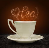 Cup of tea and heart and love with a pair of tea. Concept graphi — Stock Photo