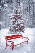 Winter Christmas background. Scene with red element. Concept gra — Stock Photo
