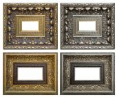 Golden and silver vintage frame isolated on white background — Foto de Stock