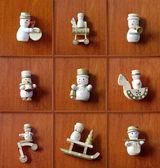 Christmas Snowman Collection. Vintage, wooden christmas decorati — Stock Photo
