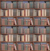 Set of shelves for books set in a surrounding frame or cabinet. — Stock Photo