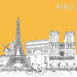 Sketch style poster with Paris symbols and landmarks. — Stock Photo #61917079