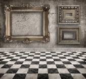 Grunge empty interior with frames. — Stock Photo