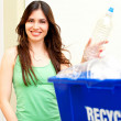 Woman holding recycling bin — Stock Photo #61118939