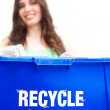 Woman holding recycling bin — Stock Photo #61118993