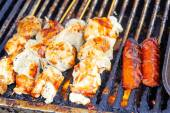 Chicken barbeque at market — Stock Photo
